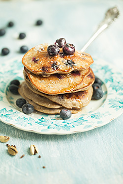 Blueberry, banana and cardamom pancakes