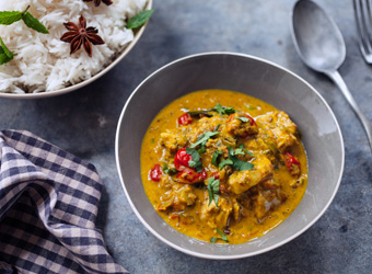 Fish curry with coconut, lemongrass and kaffir lime